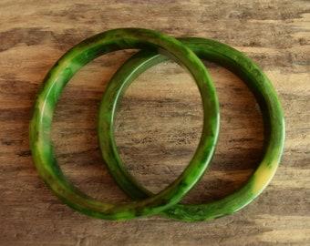Marbled Green Bakelite Bangle Set of 2 - 3/8 Inch
