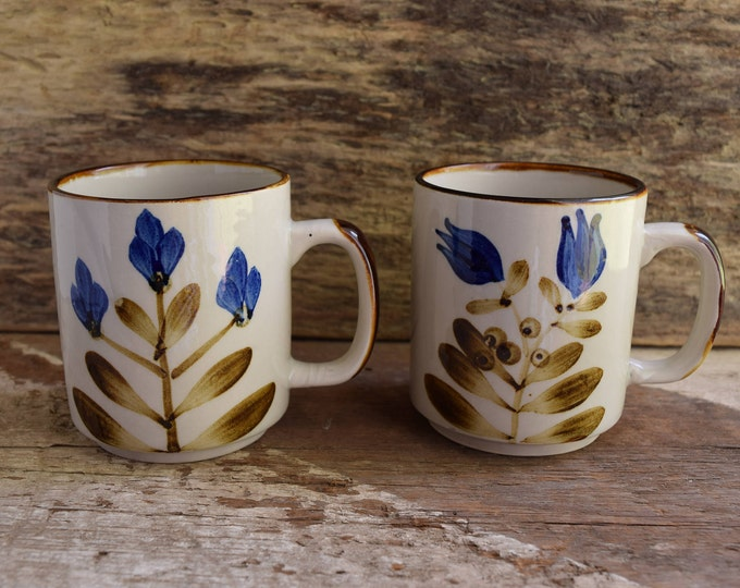 Blue Flower Mugs - Vintage Coffee Mugs - Pair of mugs - Set of 2 Coffee mugs - Vintage Kitchen drinkware - Brown Kitchenware Vintage Floral