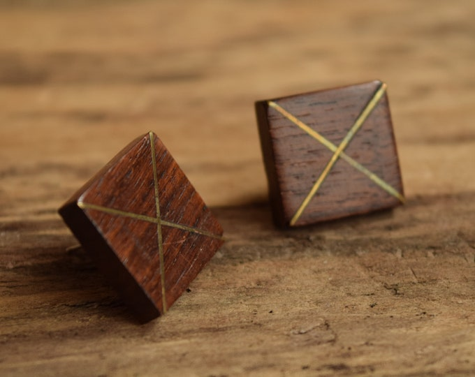 Wood and Bronze Stud Earrings - Square Wooden studs - X jewelry -simple wood earrings