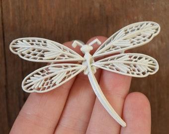 White Dragonfly Brooch - Crown Trifari