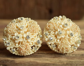 Vintage Bridal Earrings - Celluloid Flower and Pearly Clip on Earrings