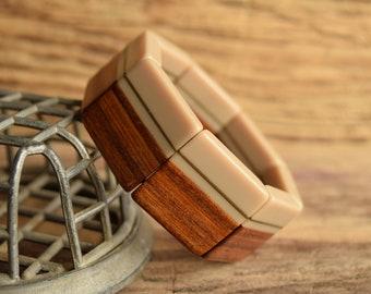 Wooden Bracelet - Vintage Tan Stretch Bracelet