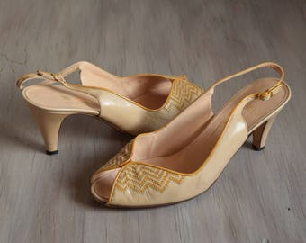 Nude Woven Yellow Peep Toe Heels - Size 7 1/2 - Vintage Bruno Magli Yellow and Nude Heels