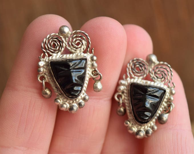 Black Onyx Carved Face Earrings - Sterling Silver Mexican
