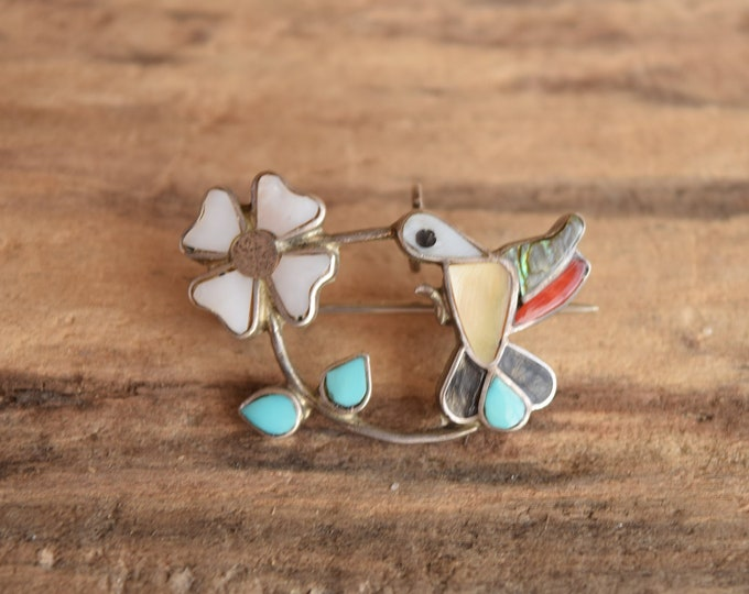 Hummingbird Inlay Pendant or Brooch