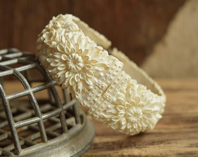 Floral Clamper Bracelet Vintage Wedding - Bridal Jewelry