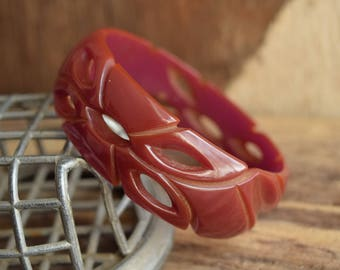 Carved and Pierced Bakelite - Translucent Purple Bakelite Bangle Bracelet
