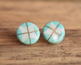 Round Turquoise Inlay Stud Earrings