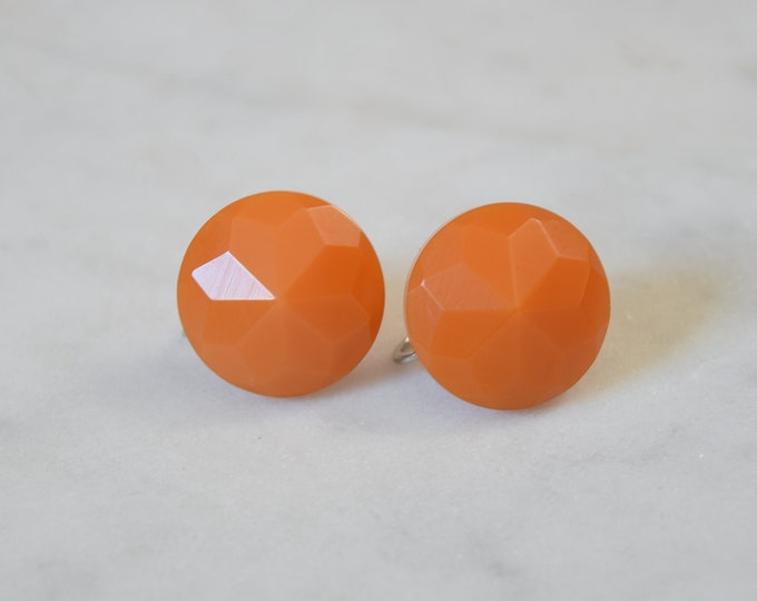 Faceted Orange Butterscotch Bakelite Screw Back Earrings