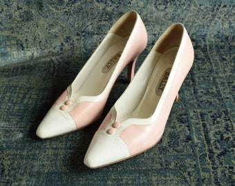 Pink and White Button Heels Size 7 1/2
