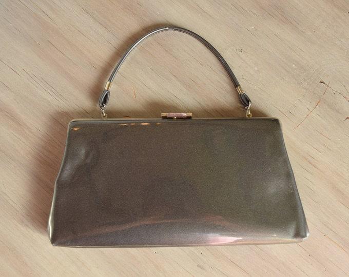 Grey vintage handbag or Clutch - Faux patent leather clutch - shimmer gray evening bag