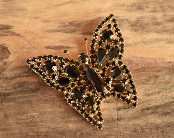 Black Rhinestone Butterfly Brooch