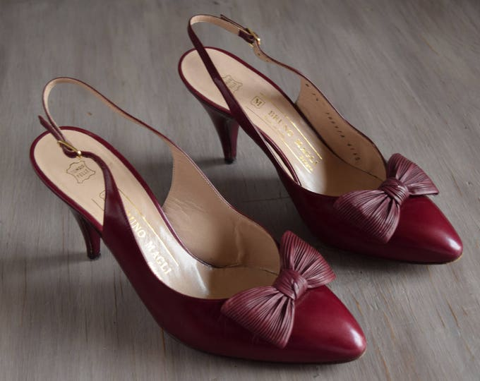 Maroon Bow Heels - Size 7.5 Bruno Magli Sling Backs - Vintage Bow Shoes - Wine Colored Shoes - Wine Red Pumps - Slingback heels - slingbacks