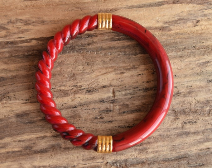 Red Spiral Marbled Bangle with Gold Toned Accents - Trifari