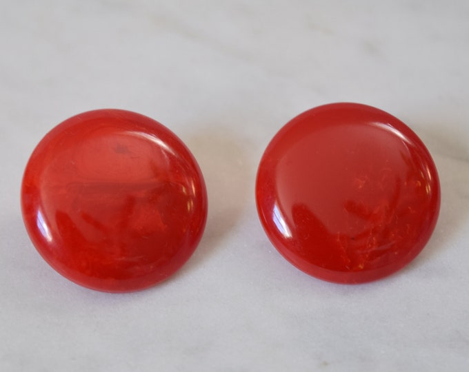 Round Red Marbled Bakelite Clip On Earrings