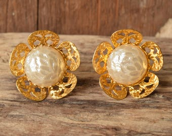 Large Flower Clip Earrings - Pearl and gold flower earrings