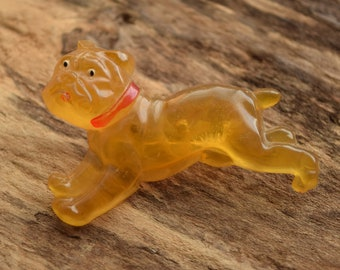 Apple Juice Plastic Dog Brooch - Lucite Bulldog Boxer Pin