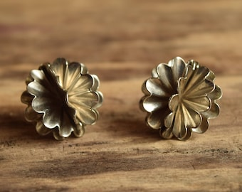 Metal Pom Pom Stud Earrings