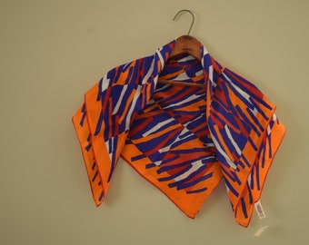 Orange and Blue Vintage Silk Scarf - New Old Stock