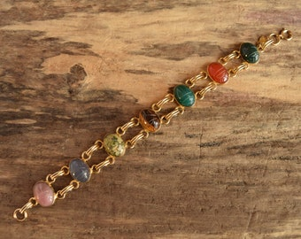 Large Gemstone Scarab Bracelet