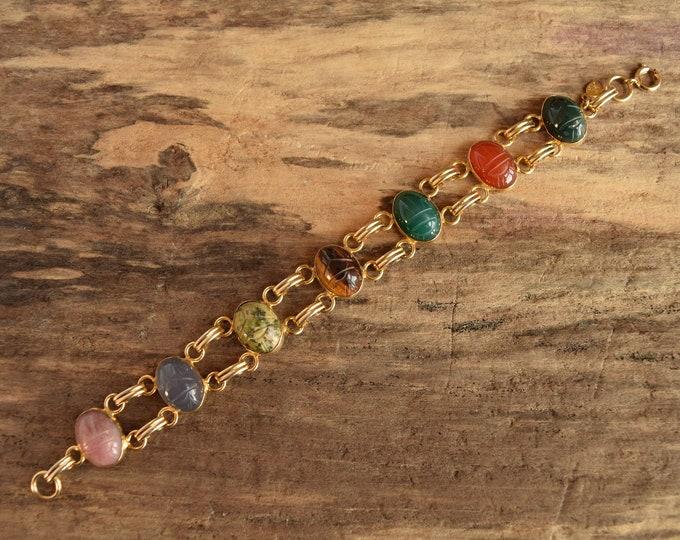 Large Gemstone Scarab Bracelet