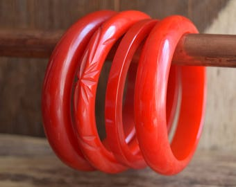 Red Bakelite Bangle Bracelet - You Pick