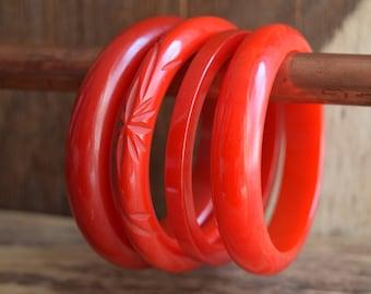 Red Bakelite Bangle Bracelet - You Pick - Carved, Marbled, spacer, solid red bakelite