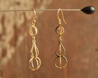 Caged Gold Toned Dangle Earrings - Cage Drop Earrings - Gold plated ear wires