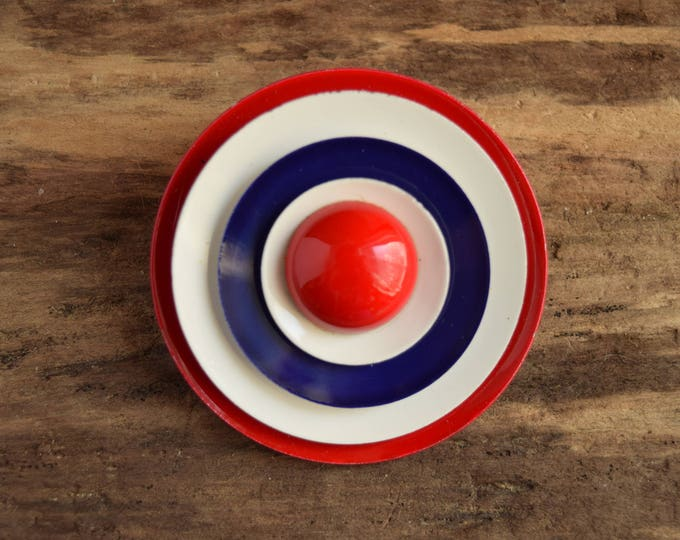 Mod Circle Brooch - Red White and Blue Target Pin - Metal Vintage Brooch - Mod Flower
