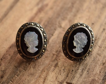 Marcasite Cameo Stud Earrings