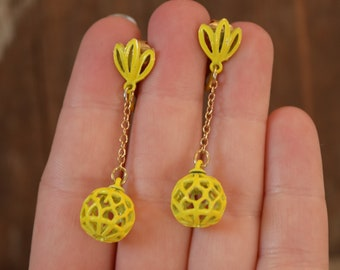 Yellow Drop Ball Clip On Earrings