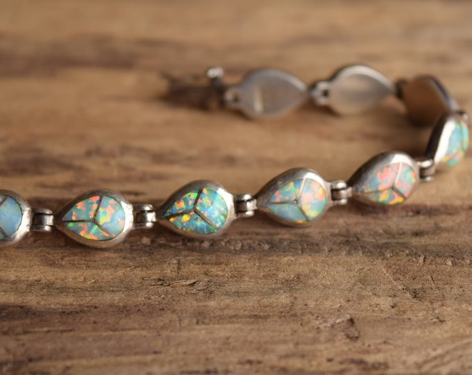 Opal Inlay Bracelet Signed AD Native American