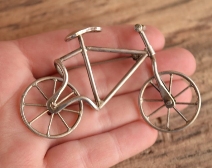 Novelty Bicycle Brooch - Sterling Silver