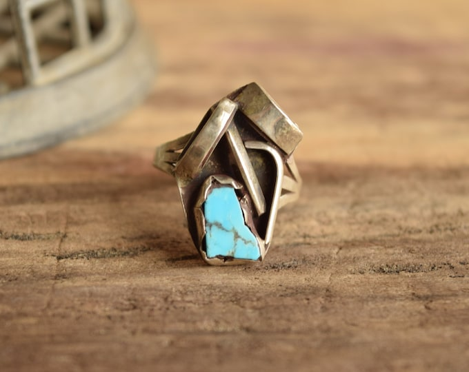 Artistic Turquoise Ring Size 10