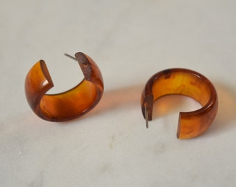 Brown Bakelite Hoop Earrings - Root Beer Bakelite