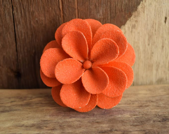 Orange Flower Brooch - Sugared Metal Flower Pin - Sugar brooch - Retro Mod Flower - Rockabilly Pinup Brooch