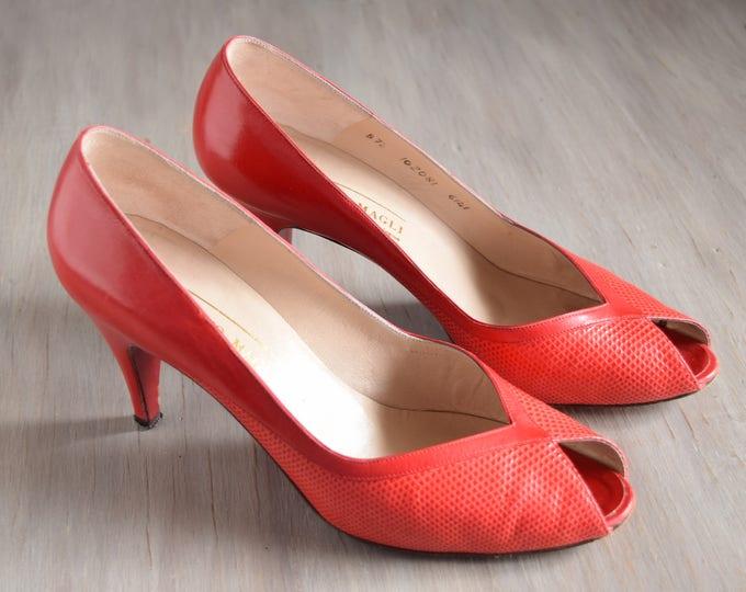 Red Peep Toe Heels Size 7 1/2 - Vintage Bruno Magli