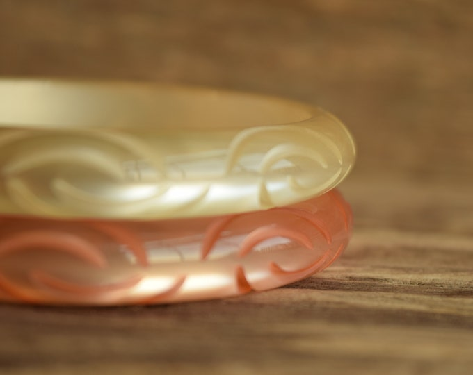 Carved Moonglow Bangle Bracelet - You Pick