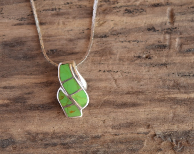 Gaspeite Sterling Silver Pendant Necklace