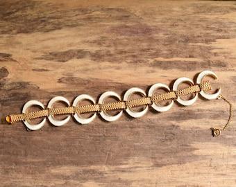 Crescent Moon Link Bracelet - D'orlan vintage