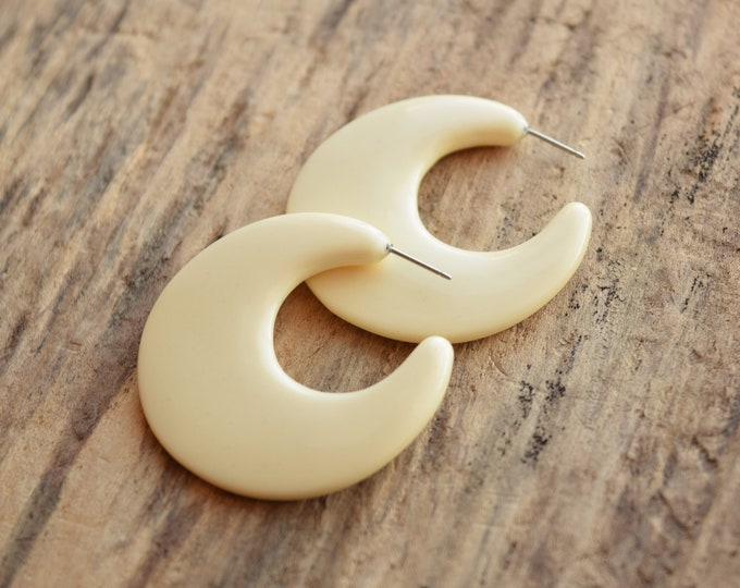 Cream Crescent Hoop Earrings
