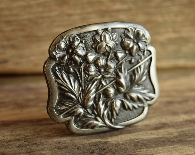 Square Floral Belt Buckle Bergamot Brass Works