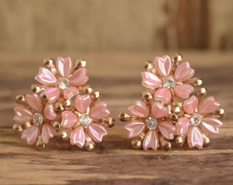 Pink Flower Clip On Earrings