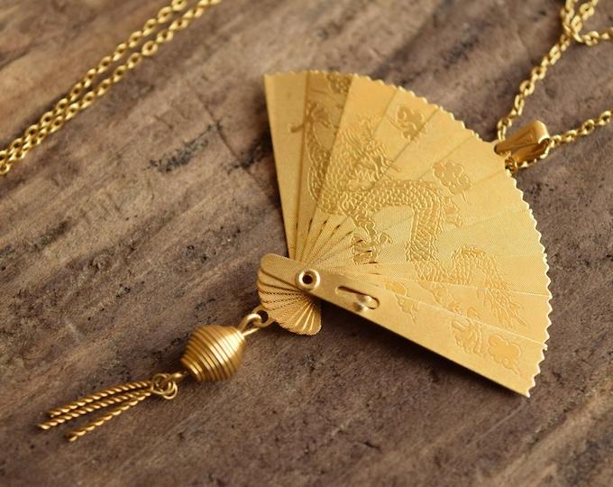 Vintage Fan Necklace - Dragon & Cranes