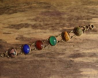 Large Scarab Bracelet - 1/20 12kt Gold Filled vintage - Semiprecious gemstones