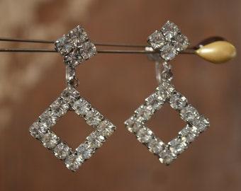 Square Rhinestone Dangle Earrings - White Rhinestone Screw Back Earrings - Wedding & Formal