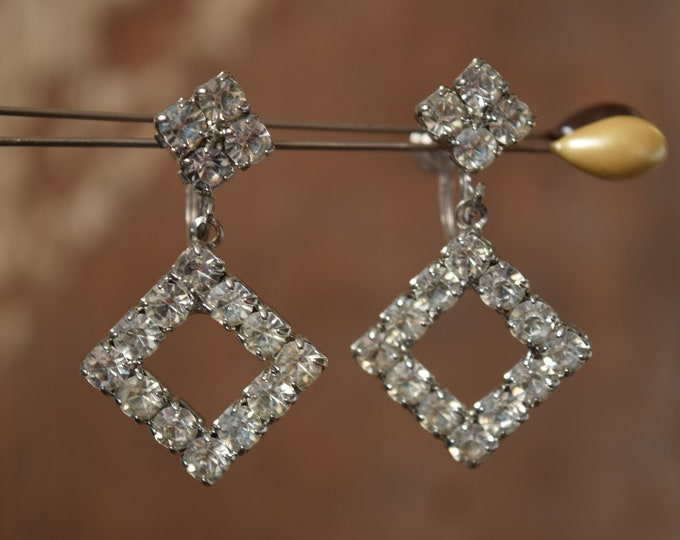Square Rhinestone Dangle Earrings - White Rhinestone Screw Back Earrings - Wedding & Formal