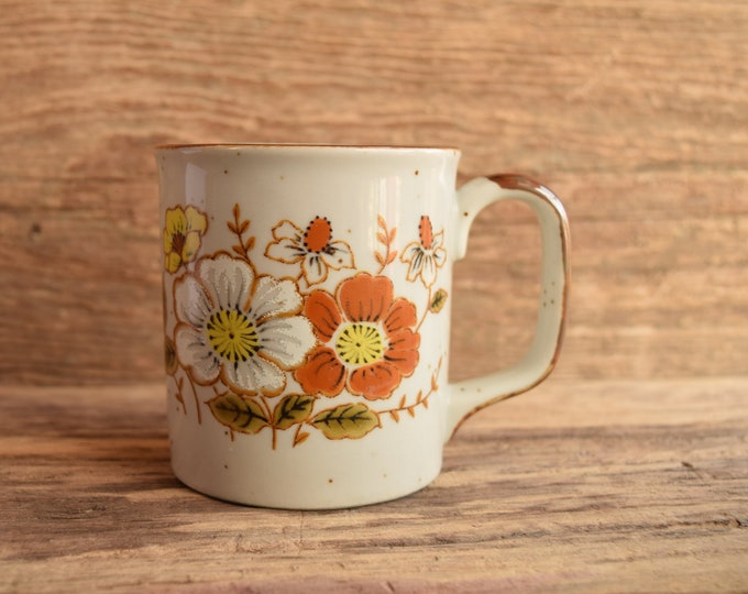 Brown and White Flower Mug