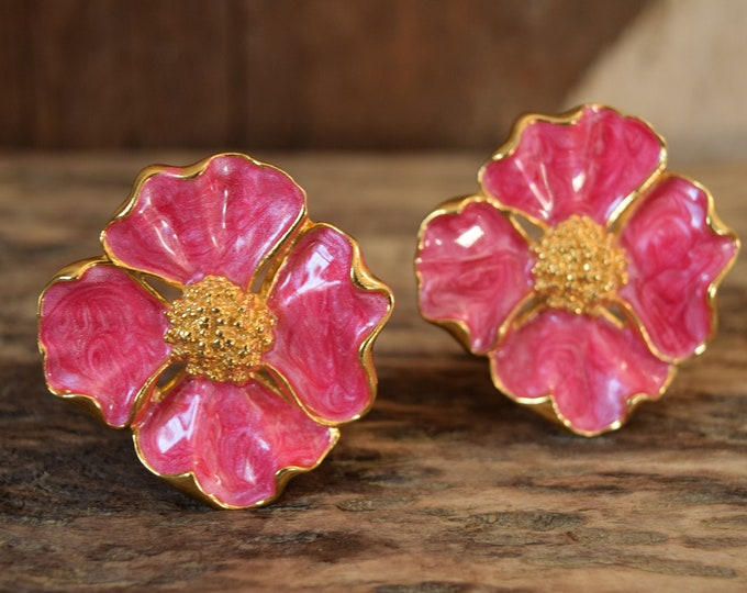 Pink Dogwood Clip-On Earrings - Vintage Avon