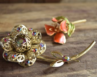 Flower Brooch - Rhinestone Floral Pin - Gold toned brooch - YOU PICK